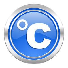 celsius icon, blue button, temperature unit sign