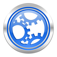 gear icon, blue button, settings sign