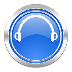 headphones icon, blue button