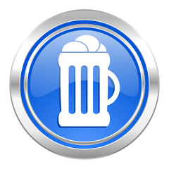 beer icon, blue button, mug sign