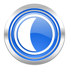 moon icon, blue button, sleep sign