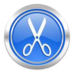 scissors icon, blue button, cut sign
