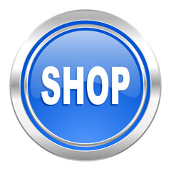 shop icon, blue button
