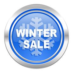 winter sale icon, blue button
