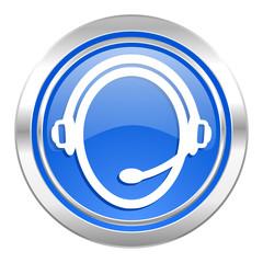 customer service icon, blue button