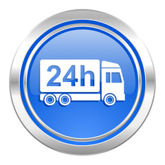 delivery icon, blue button, 24h shipping sign