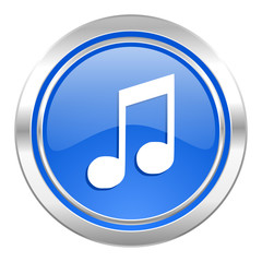 music icon, blue button, note sign