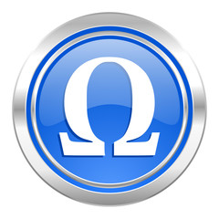 omega icon, blue button