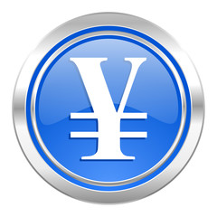 yen icon, blue button