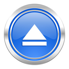 eject icon, blue button, open sign