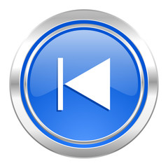 previous icon, blue button
