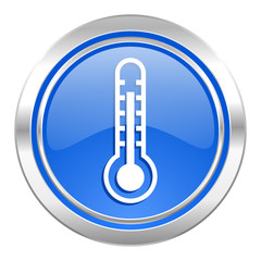 thermometer icon, blue button, temperature sign