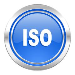 iso icon, blue button