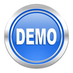 demo icon, blue button