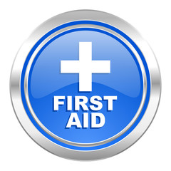 first aid icon, blue button
