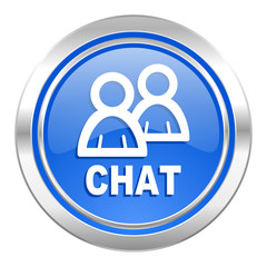 chat icon, blue button