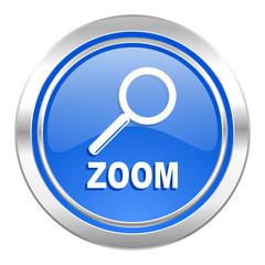 zoom icon, blue button