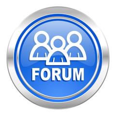 forum icon, blue button