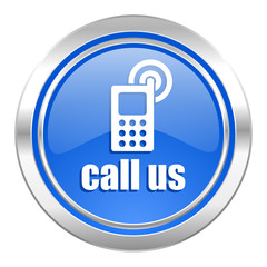 call us icon, blue button, phone sign