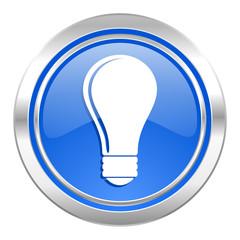 bulb icon, blue button, idea sign