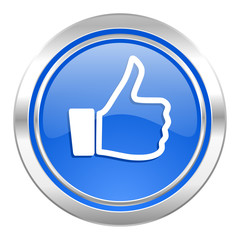 like icon, blue button, thumb up sign