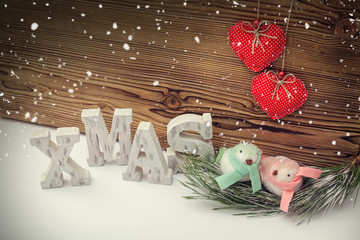 christmas concept with ornament birds at birdnest