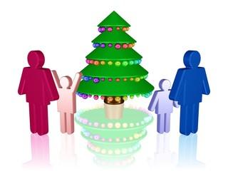 eine Familie bewundert ihren Weihnachtsbaum