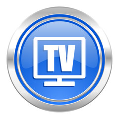tv icon, blue button, television sign