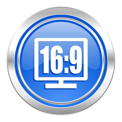 16 9 display icon, blue button