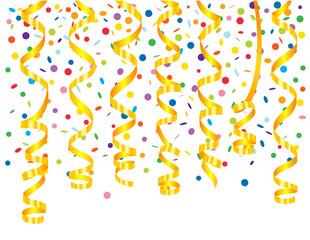 Confetti background with serpentine