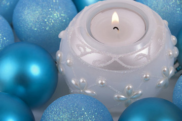 New-year balls and candle