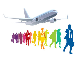 Businesspeople traveling