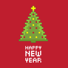 Pixel new year fir tree. Vector illustration.