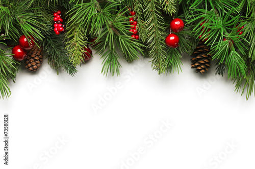 Spoed canvasdoek 2cm dik Bomen Christmas tree branches background