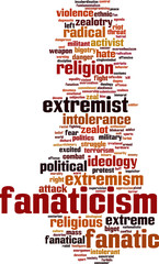 Fanaticism word cloud concept. Vector illustration