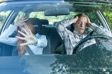 Young couple just before accident