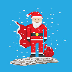 Superhero Santa With Bag, pixel art style illustration