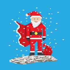 Superhero Santa With Bag, pixel art style illustration