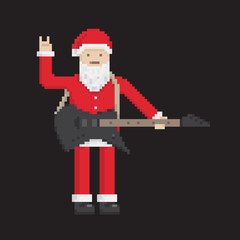 Santa With Electro Guitar, pixel art style illustration