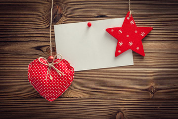 empty greeting card on wood background
