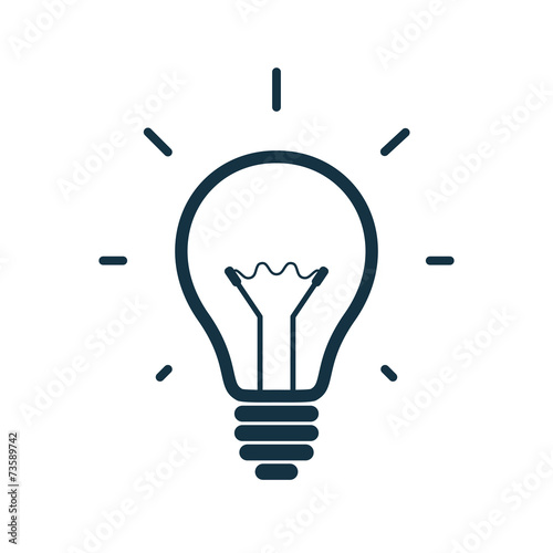 Fototapeta Simple light bulb icon. Vector illustration
