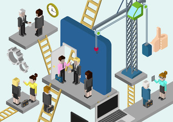 Flat 3d isometric business building company online media
