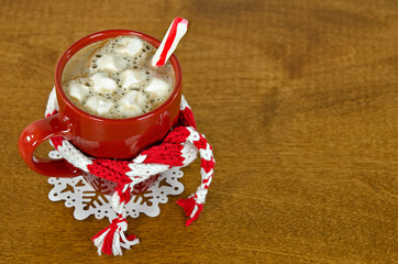 hot chocolate drink with winter scarf