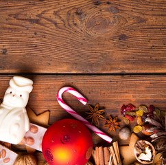 Christmas decoration on natural wooden table