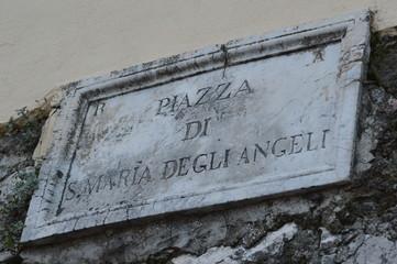 Piazza di S.Maria degli Angeli sign,Palestrina,Lazio,Italy