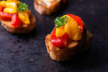 Bruschetta with grilled bell pepper