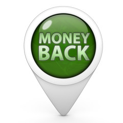 Money back pointer icon on white background