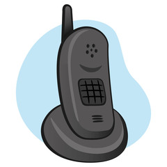Object cordless phone with support base