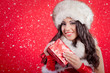 canvas print picture - beautiful sexy girl wearing santa claus clothes with christmas g