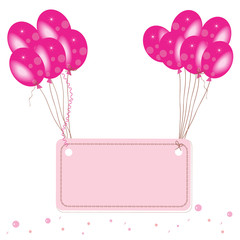 Pink flying balloon place for text with confetti wallpaper